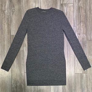 Oak + Fort | Grey Marl Crew Neck Side Slit Sweater